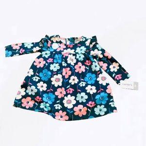 NWT Carter's Navy Blue Long Sleeve Floral Dress 9M